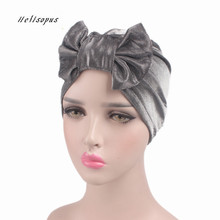 Helisopus 2020 ผู้หญิงใหม่มาถึงGOLD BowknotมุสลิมอินเดียหมวกBrightผ้าพันคอหมวกฤดูหนาวฤดูใบไม้ร่วงหมวกChemoผู้หญิงอุปกรณ์เสริมผม