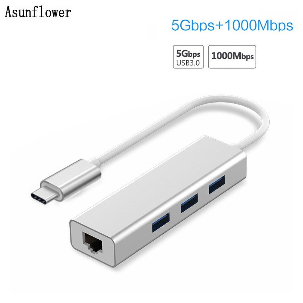 USB Ethernet USB 3.0 To Rj45 Lan Adapter 3 Port USB Type C Hub 10/100/1000Mbps Gigabit Ethernet Network Card Lan For MacBook