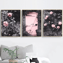 France Door Rose Flower Vine Manor Wall Art Canvas Painting Nordic Posters And Prints Pictures For Living Room Home Decor