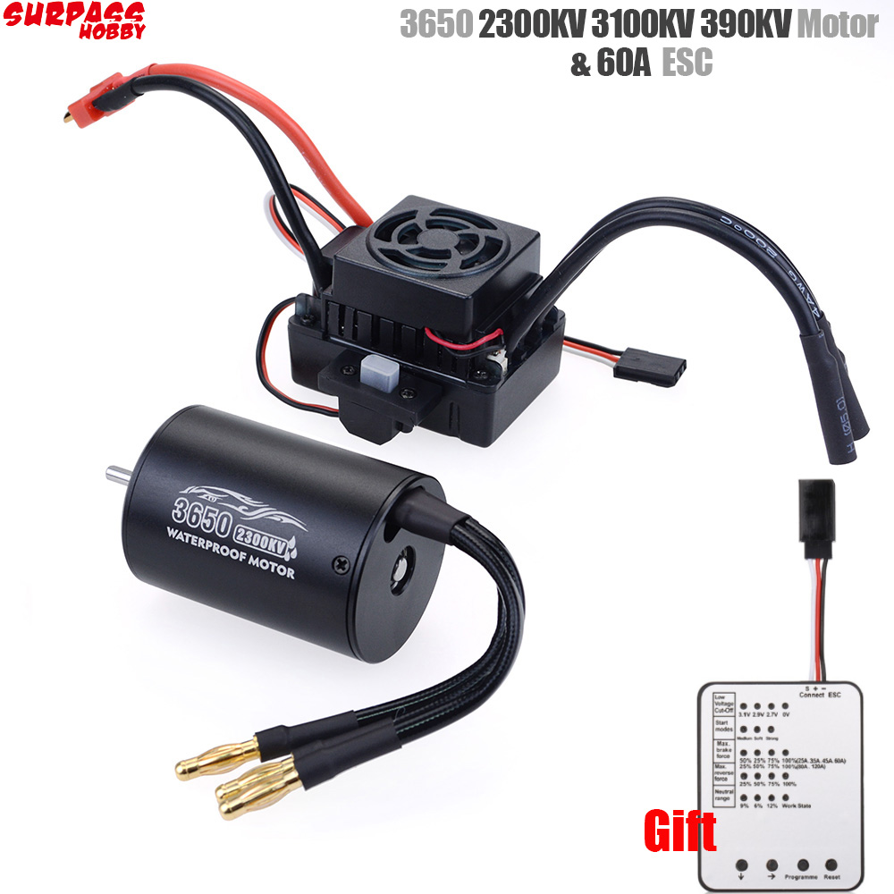 Surpass Hobby Waterproof 3650 2300KV 3100KV 3900KV Brushless Motor With 60A ESC W/  Program Card Combo For 1/10 RC Car Truck Toy