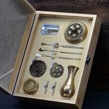 PINNY Conjunto de quemador de incienso de cobre de alta calidad, caja de herramientas de incensario fino, regalos y manualidades, decoraciones para el hogar, soporte para incienso, horno de aromas