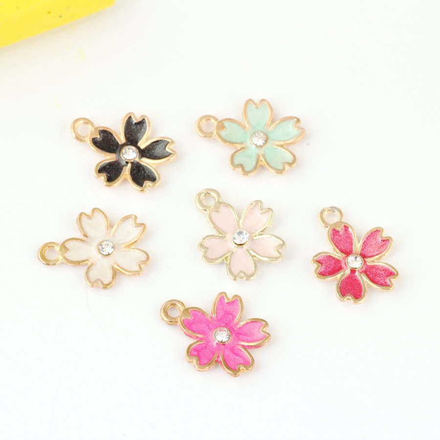 Free Shipping New 60PCS Oil Drop Flower Gold Tone Metal Alloy DIY Bracelet Necklace Keyring Handbag Enamel Floral Pendant Craft