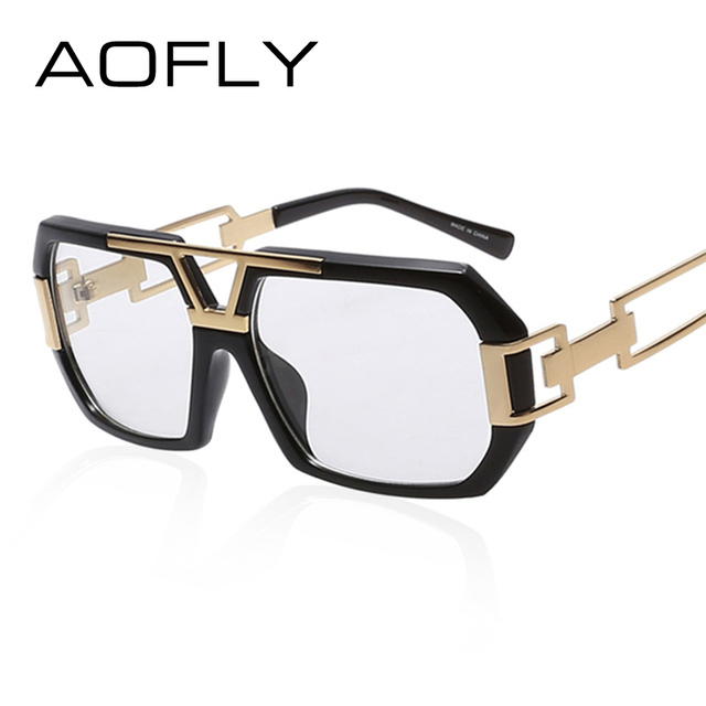 eac66c9542a AOFLY Eyeglass Frames Retro Men Women Fashion Plain Eyeglass Spectacle  Square Frame Hollow Temples Glasses Frame