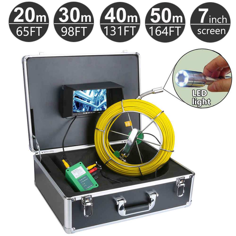 20M 50M Pipe Pipeline Inspection System 7 Inch Monitor 1000 TVL Camera Drain sewer Industrial Endoscope