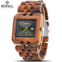 2017 New Bewell Man Wooden Watch New Year Gift Bangle Quartz Watch With Calendar Display Role Men Relogio Masculino Watches