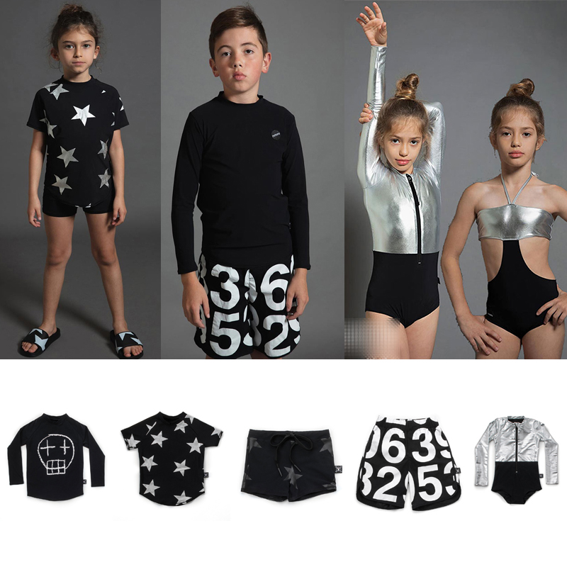 2019 NUNUNU Swimming Wear For Boys and Girls Baby Skull Numbered Star T Shirts Surf Shorts