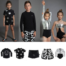 2019 NUNUNU Swimming Wear For Boys and Girls Baby Skull Numbered Star T Shirts Surf Shorts Baby Girls Swimsuit Set Child T-shirt(China)