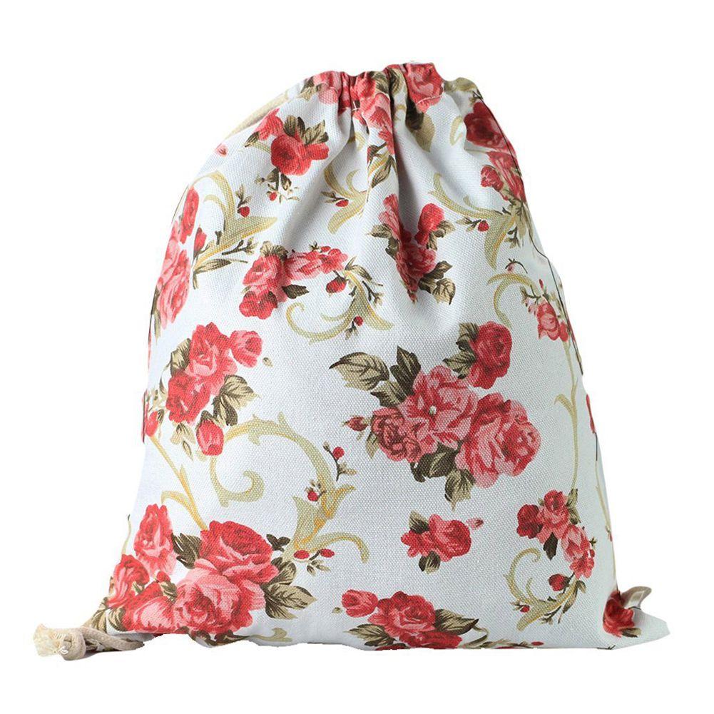 ICON-Print Drawstring Backpack Rucksack Shoulder Bags Gym Bag peony