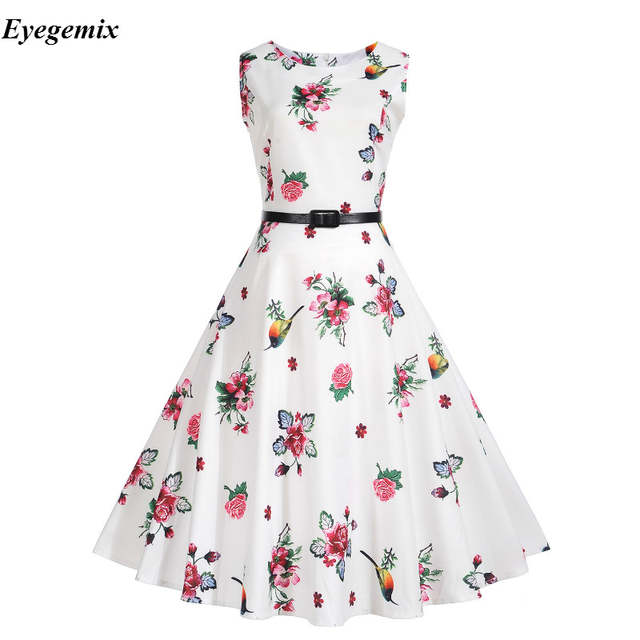 92e7a96158ac3d placeholder Audrey Hepburn Robe Retro Rockabilly Dress 2017 Jurken 50s 60s  Swing Pin Up Women Summer Floral