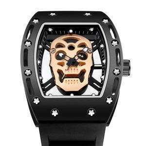 Image 3 - แฟชั่น Tonneau Skeleton นาฬิกาผู้ชายกลวงกันน้ำ Skull นาฬิกาควอตซ์ชายนาฬิกาข้อมือซิลิโคนนาฬิกาผู้ชาย erkek Kol saati