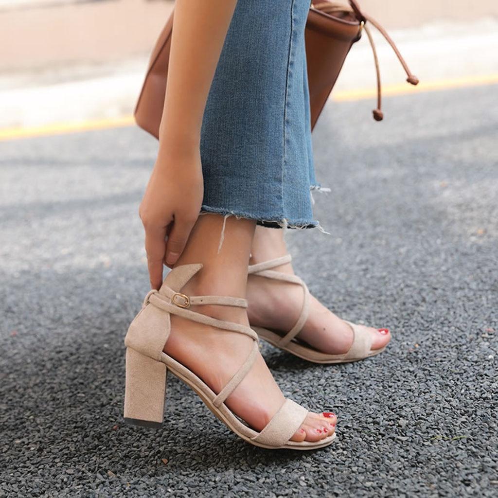 Xiniu Women Ladies Party Wedding Shoes Summer Fashion Causal Single Shoes Sandals Yellow Buckle Strap Zipper Roman Sandals #0501