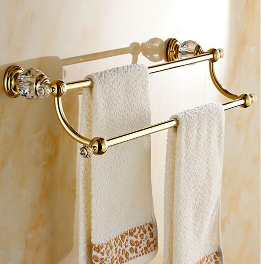 Wall mounted Double Towel Bar,Towel Holder, Towel rack Solid Brass & Crystal Vintage Made Golden Finish Free Shipping free shipping brass & stone golden towel rack gold towel bar towel holder cy008s