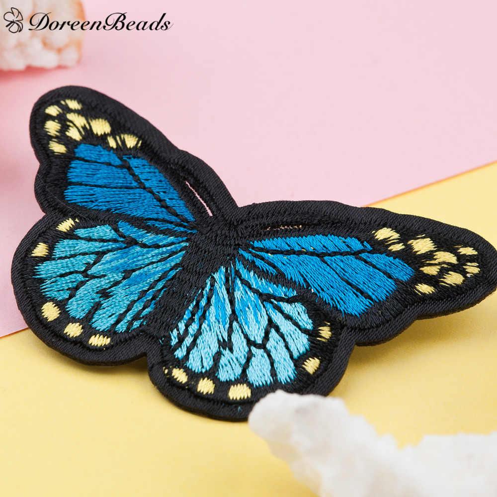 DoreenBeads 1PC Fatti A Mano Multicolore Tessuto Del Ricamo Farfalla Distintivi e Simboli di Sicurezza Spille Spille per I Vestiti Borse di Jeans