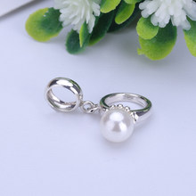 925 Sterling Silver Beads Pearl Wedding Ring Pendant Fit Pandora Charms Silver 925 Original Bracelet Women Diy Jewelry(China)