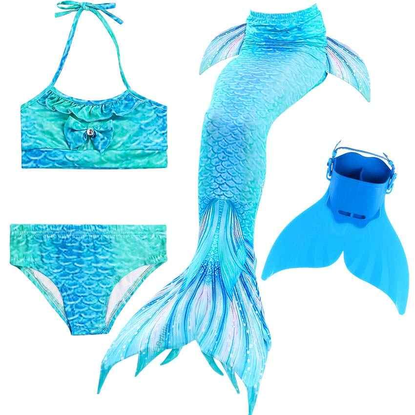 4 ชิ้น/เซ็ตราคาถูก Fairy Mermaid TAIL เครื่องแต่งกายสำหรับสาวว่ายน้ำ Mermaid TAILS Monofin Swimmable ชุดว่ายน้ำชุดคอสเพลย์