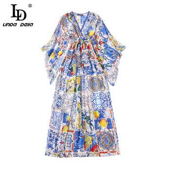 LD LINDA DELLA Fashion Runway Maxi Dress 5XL Plus size Women\'s Batwing Sleeve V-Neck Floral Print Casual Holiday Long Dress