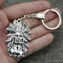 Antique Silver 58x35mm Indian Chief Keychain New Vintage Handmade Metal Key Ring Party Gift