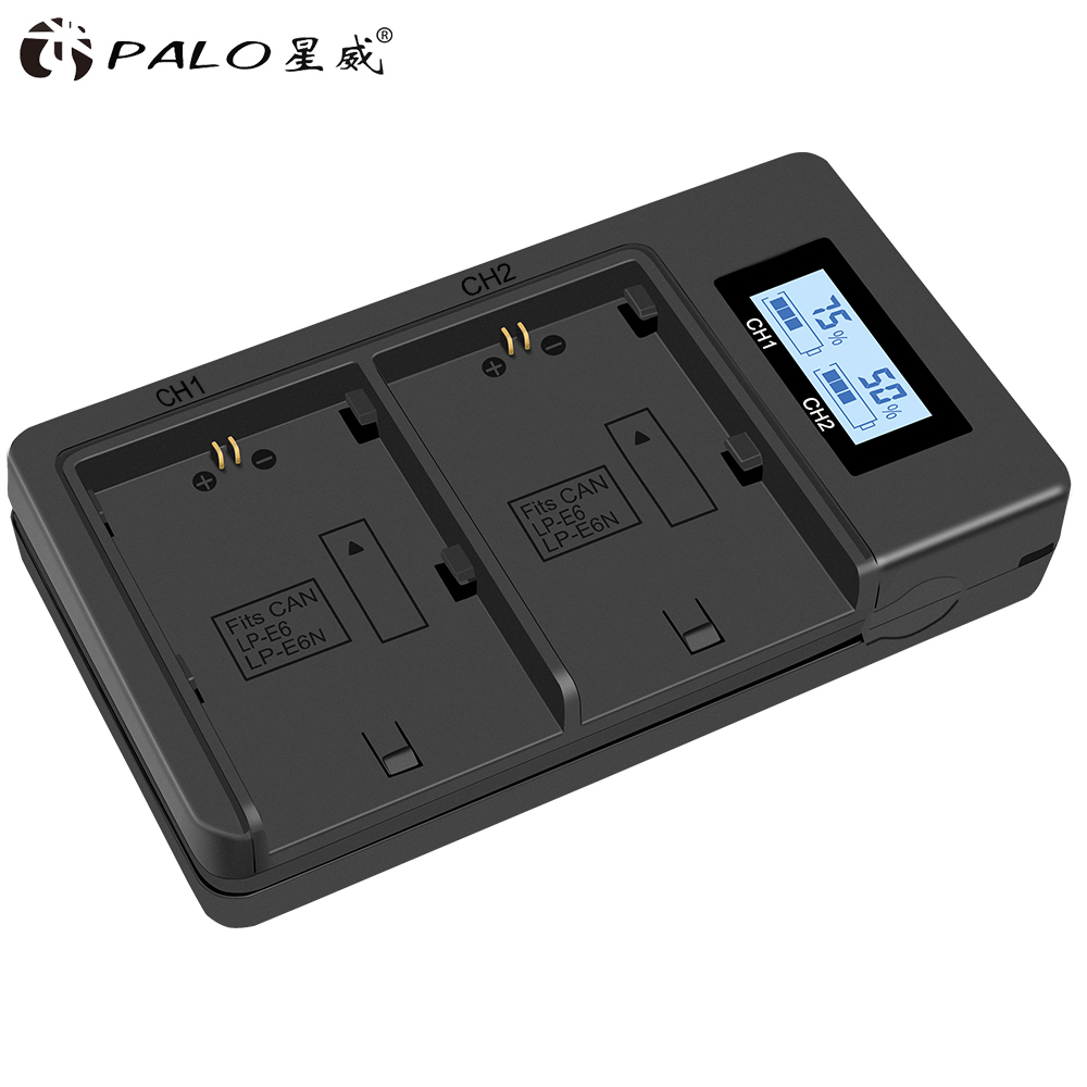 Palo LCD Dual USB Battery Charger for LP-E6 LP E6 LPE6 Camera Battery Pack Canon 5D Mark II III 7D 60D EOS 6D 70D 80DPalo LCD Dual USB Battery Charger for LP-E6 LP E6 LPE6 Camera Battery Pack Canon 5D Mark II III 7D 60D EOS 6D 70D 80D