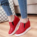 Aumento da altura Sapatos Casuais Mulheres 2017 PU de Couro Mulheres Sapatos Mocassins Mulheres Sapatos de Cunha Plataforma Escondida Salto Alto Chaussure Femme