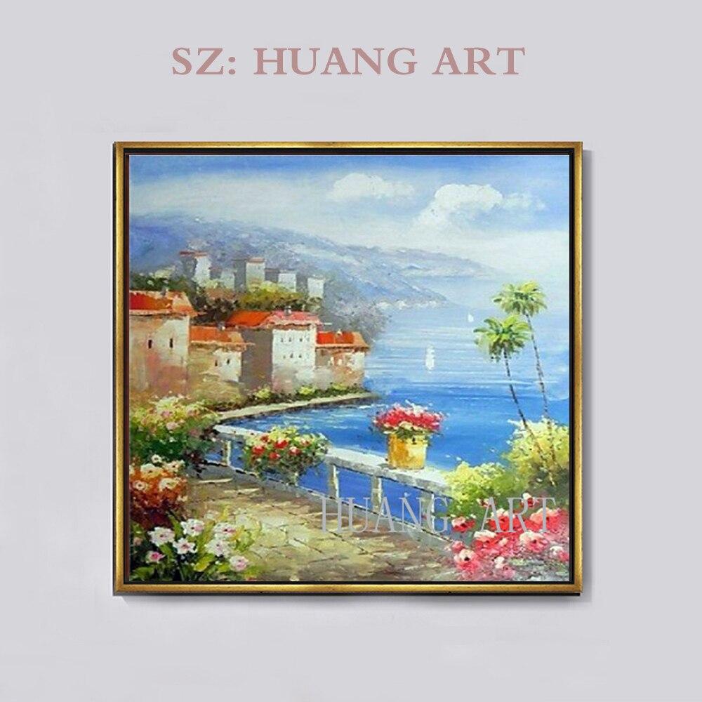 100% peint à la main méditerranée mer italienne plage ville côte maisons toile maison mur Art peinture à l'huile par artiste bien connu, cadre