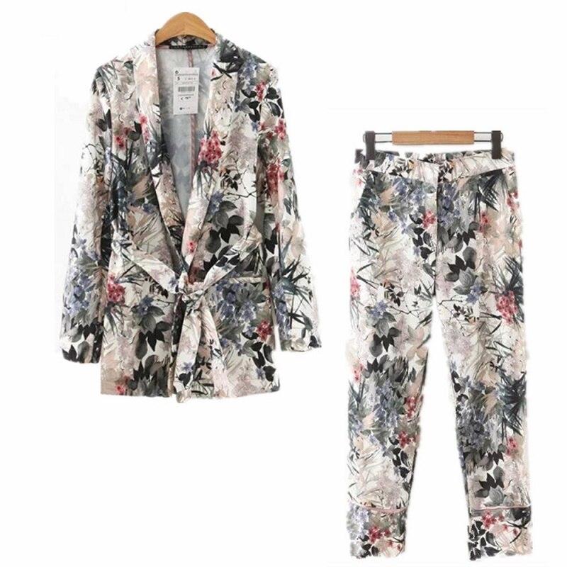 Elegant Women's Suits 2020 Autumn Women Long Sleeve Wiped Kimono Blazer Belt Print Coat+Casual Pants Suit Vintage Two Piece Sets