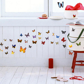 80PCS Home Decor Paper Art Decal Colorful Butterfly Stickers Home DIY Removable Vinyl Wall Papers New Home Improvements