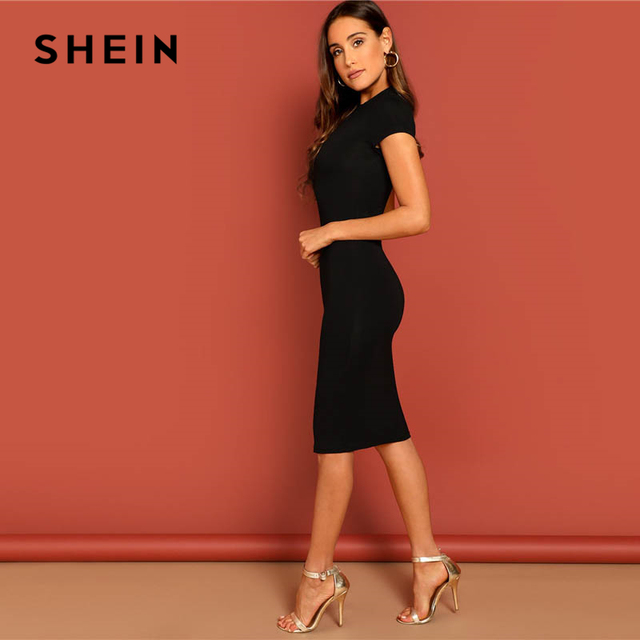 SHEIN Black Stand Collar Solid Natural Waist Stretchy Bodycon Dress Women Summer Elegant Short Sleeve Slim Fitted Pencil Dresses 1