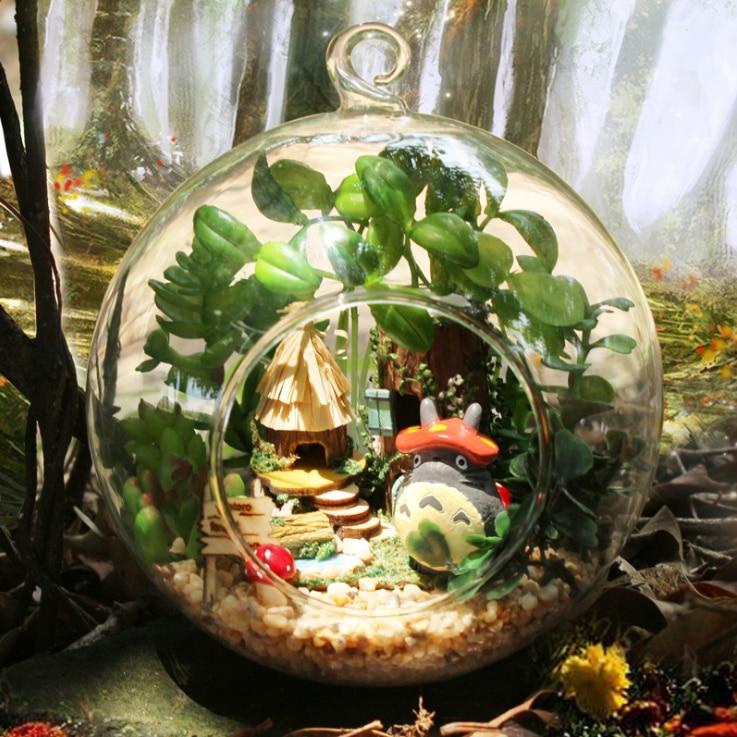 DIY Glass Ball Doll House Cute My Neighbor Totoro Dollhouse Model Kits Handmade Wooden Miniature Assembling Dollhouse Toy  Gift