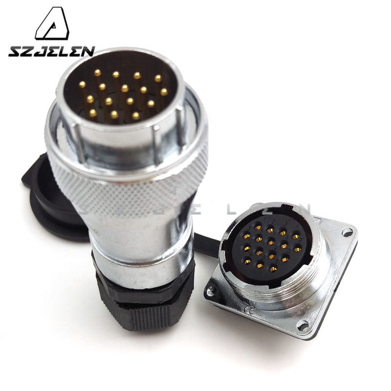 SZJELEN WF28 series 16 pin Waterproof connector plug socket  panel mount  LED cable connector|led cable connector|led connector|led waterproof connector - title=