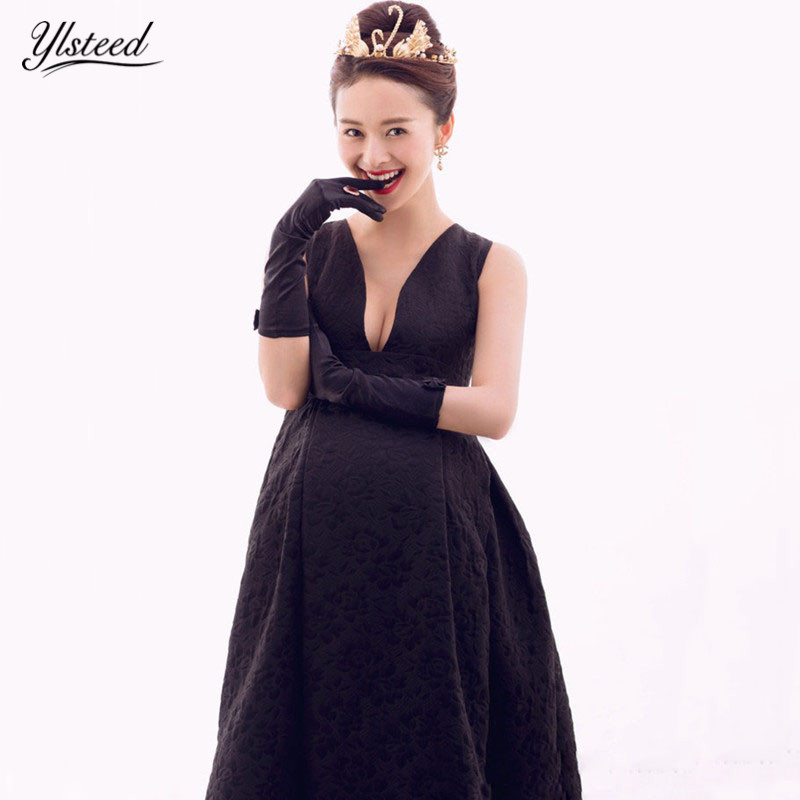 Black Maternity Dress with Gloves Maternity Photography Props Deep V Neck Maxi Maternity Gown Sexy Pregnant Party Evening Dress techone sbach 342 hcf depron arf to sbhcf arf