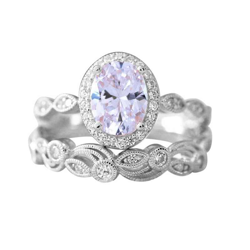 FUNIQUE 2 ชิ้น/เซ็ตรูปไข่ Cubic Zirconia แหวนเครื่องประดับ 2018 Rose Gold แหวนทองแดงสำหรับสาวงานแต่งงานแหวนคริสตัลชุด