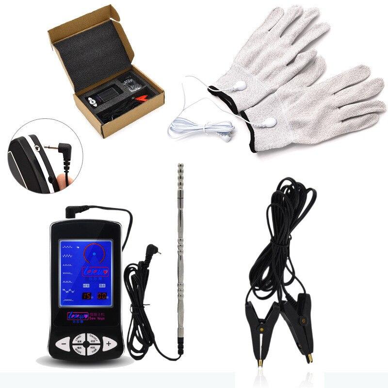 3in1 jouets de choc électrique avec prise urétrale mamelons Clips gants masseur de sein électrique choc Sex Toy pour hommes I91-1-244