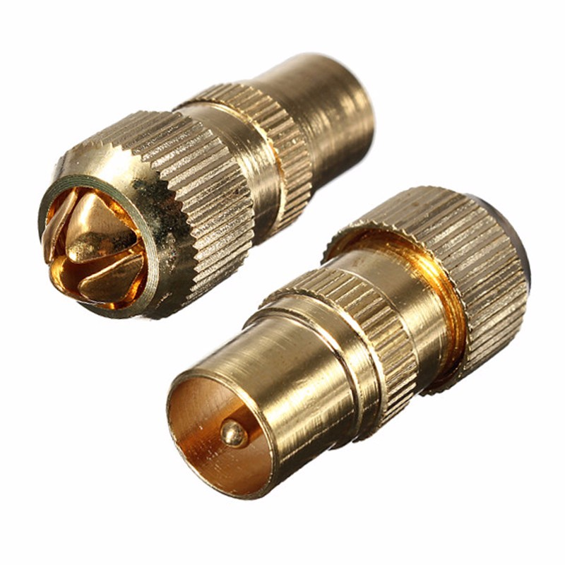 1Pcs Gold Plated Male TV Aerial Connector - RF Coax Cable Plug Freeview Coaxial