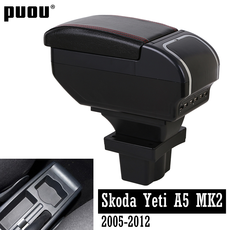 Dual Layer+Large Space Armrest Box For Skoda Yeti Octavia A5 MK2 2005-2012 Central Store Content Box With Ashtray USB Charging C