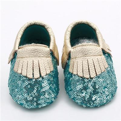 Comercio al por mayor 50 par/lote lentejuelas zapatos de Bebé de Cuero Genuino de La Borla de Niño Bebé mocasines Bling Bling bebe Primeros Caminante Zapato Suave