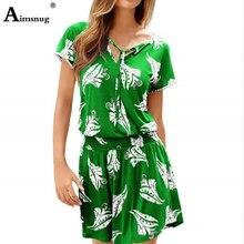 Plus Size 3xl Boho Floral Print V-neck Lace-up Elastic Band Waist Female The Dress Short Sleeve New Casual Green Women Dresses недорого