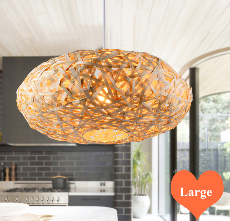 Chinese style hand knitting bamboo large Pendant Lights Southeast Asia round E27 LED lamp for porch&parlor&stairs LHDD018-1 southeast asia style hand knitting bamboo art pendant lights modern rural e27 led lamp for porch