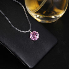 Invisible Line Colorful Zircon Choker Necklace Women New Fashion Jewelry Cute Gift White Pink Blue(China)