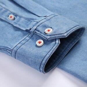 Image 4 - Mens רגיל fit ארוך שרוול ג ינס לעבוד חולצה שני כפתור קדמי חזה כיסים & עיפרון חריץ מחוספס ללבוש דק מזדמן כותנה חולצות