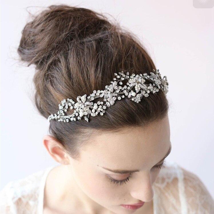 Elegant Silver Gold Rhinestone Wedding Tiara Handmade Bridal Headband Hair Jewelry font b Women b font
