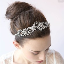 Elegant Silver Gold Rhinestone Wedding Tiara Handmade Bridal Headband Hair Jewelry Women Accessories