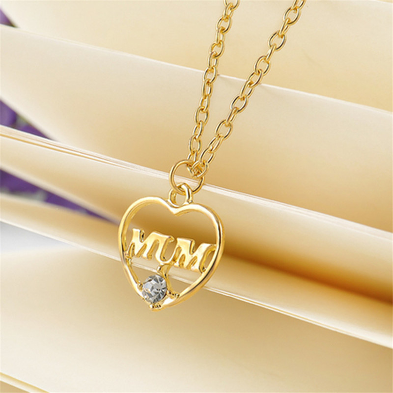 "ZN 2019 Gold Color Love ""Mum"" Crystal Heart Pendant Necklace Mother's Day Gifts for mother Sweater Chain Necklaces Best Gifts 33"