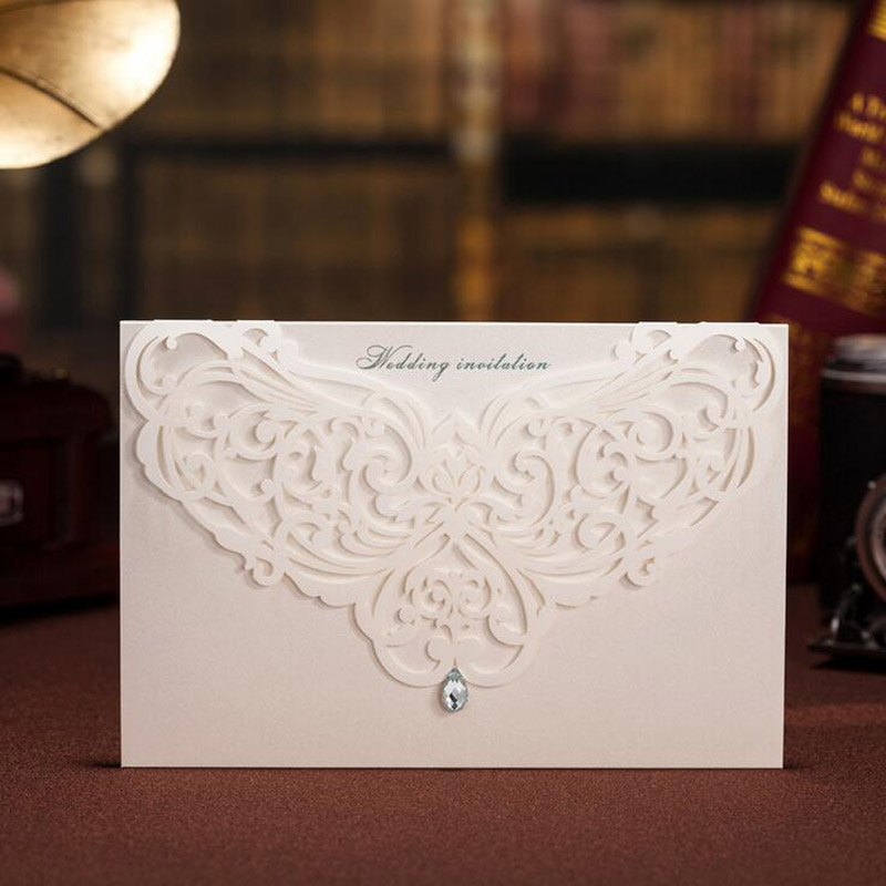 1pcs Sample Printable White Hollow Wedding Invitations Cards Custom With Rhinestone Laser Cut Flower Foil Stamping  Envelopes