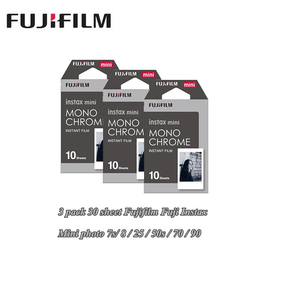 Nouveau 3 packs Fujifilm Instax Mini Film Monochrome Pour Polaroid Mini 8 7 s 7 50 s 50i 90 25 dw Partager SP-1 Instant Photo mini caméra