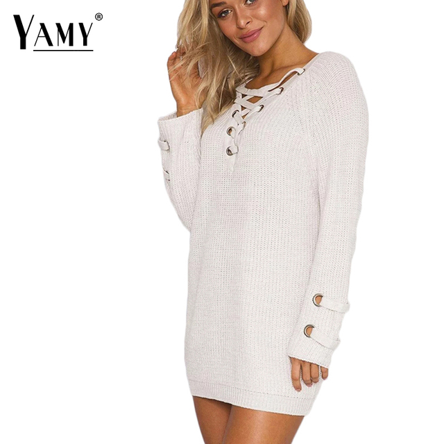 Women sexy lace up sweater 2017 lace-up sleeve V-neck women pullover rusty long sweater Winter Autumn thick women loose knitwear