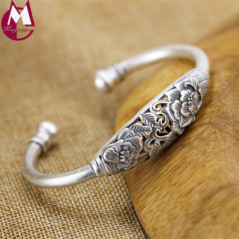 все цены на 100% Real 990 Sterling Silver Bracelets Bangles Vintage Hollow Carving Flower Bangles For Women Fine Plum blossom Jewelry SB36