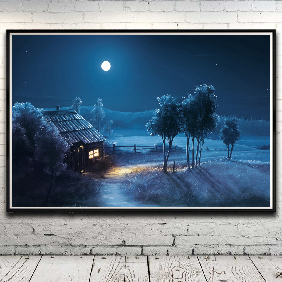 trees grass house snow winter landscape art silk poster home decor painting 12x18 16x24 20x30 24x36 inch no frame free shipping
