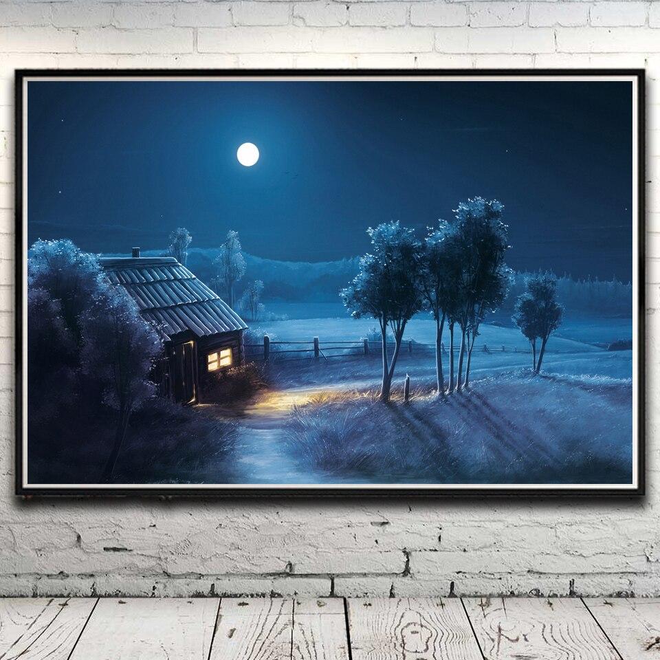 Árboles hierba casa nieve invierno paisaje arte seda cartel ...