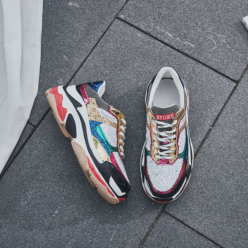 Cordones Moda Suela Deporte Lentejuelas Marca 3 Cruzados Con Casual Mujer Gruesa Chaussures Respirable 2 Flash De Zapatos Bling 1 Ftxqwp01