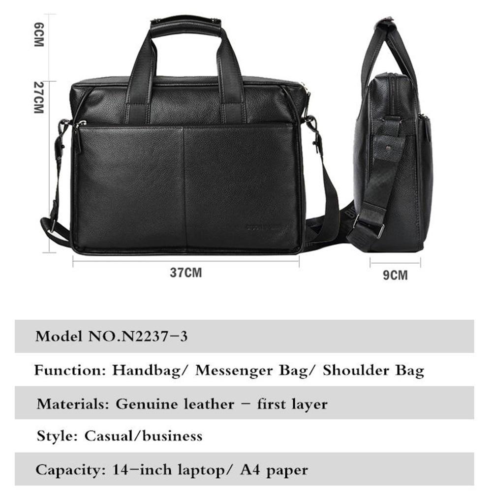 들소 데님 정품 가죽 보증 서류 가방 14 인치 노트북 부드러운 가죽 메신저 가방 핸드백 가방 비즈니스 N2237 3-에서서류 가방부터 수화물 & 가방 의  그룹 3